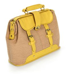 "Madrid | Yellow Briefcase Bag  Style name: Madrid  Height: 10.5""  Length: 14.5""  Width: 5""  Handle Length: 9""  Shoulder Strap: Adjustable and Detachable  Material: Faux Leather and Canvas  Color: Yellow and Beige   $52.00"