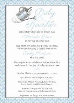 watering can baby sprinkle invitation, sprinkle shower, digital, printable file (any colors). via Etsy.