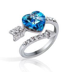 Romantic Arrows Of  Love Heart Crystal Ring