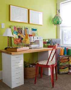 Create a sewing corner anywhere in your house with a work surface and storage. For a colorful inspiration board, glue a fabric remnant to a magnetic chalkboard. Slide a woven basket under a desk to hold fabric scraps, and place a small wire shelving unit in the corner to stash larger pieces.