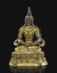 清康熙 鎏金銅無量壽佛坐像