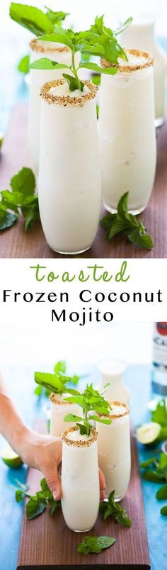 Toasted Frozen Coconut Mojito is a summer must have! Made lighter, non alcoholic blend with fresh lime juice, a homemade mint simple syrup and then blended with coconut milk for a refreshing cocktail that you won't have troubles asking for seconds! Refreshing Cocktails, Summer Cocktails, Cocktail Drinks, Yummy Drinks, Cocktail Recipes, Alcoholic Drinks, Drinks Alcohol, Alcohol Recipes, Cocktail Ideas