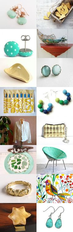 Summery greens and golds by Kristin on Etsy--Pinned with TreasuryPin.com