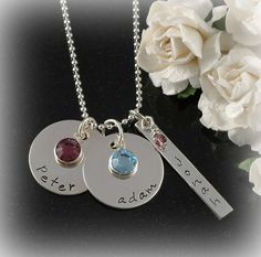 Personalized Mothers Necklace  Sterling Silver  by divinestampings, $54.00