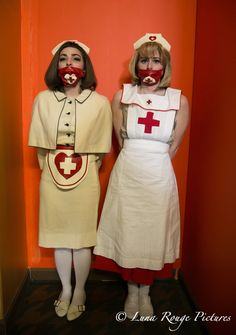 """Nurse actors on set for upcoming film """"Aimy in a Cage""""... image style came out looking like """"The Shining"""" sisters... uncanny. Photography by Natalie Shmuel, Luna Rouge Pictures"""
