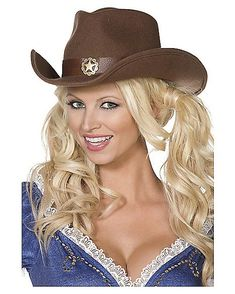 Wild West Adult s Brown Cowboy Hat - Spirithalloween.com Cowgirl Fancy  Dress 1a85d7c72f65