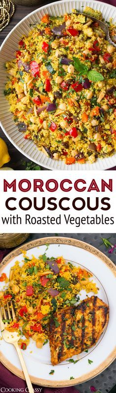 Moroccan Couscous with Roasted Vegetables Chick Peas and Almonds - Cooking Classy
