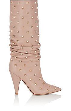 1158ddf214cb Valentino Garavani Rockstud Leather Knee Boots