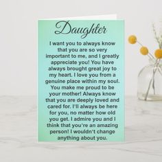 Shop Special Daughter Love And Appreciation Messages Card created by InspirationbyLahart. Happy Birthday Mom From Daughter, Birthday Message For Daughter, Birthday Quotes For Daughter, I Love My Daughter, Sons Birthday, Daddy Daughter, Message To Daughter, Daughter Poems, Daughter Sayings