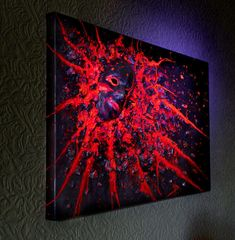 Abstract Portrait Painting Original Acrylic UV Heavy Textured Contemporary Wall Art Glow In The Dark Canvas Sculptures Relief Face Art Abstract Portrait Painting, Large Painting, Painting Art, Large Canvas Wall Art, 3d Wall Art, Canvas Art, Unique Paintings, Original Paintings, Found Art