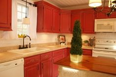 Twice Remembered: Red Cottage / Farmhouse Style Kitchen Progress Photos and Details- Almost There!