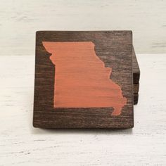 Pick State, Pick Color, Missouri Wood Coasters, Set of 4, Wedding, Housewarming by YourHomeState on Etsy