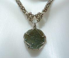 Wire wrapped green druzy pendant on chainmail necklace by EileensBeadedJewelry, $68.00 #chainmaille #wirewrap #druzy