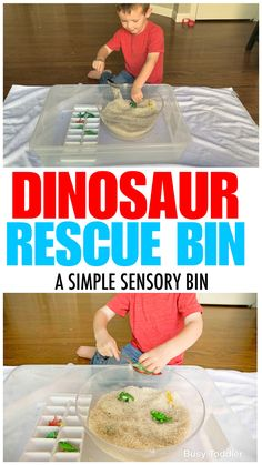 A quick and easy activity for toddler ; a toddler sensory activity from Busy Toddler activities for toddlers outdoor Hidden Dinosaurs Sensory Bin Activity - Busy Toddler Educational Games For Toddlers, Indoor Activities For Toddlers, Dinosaur Activities, Preschool Learning Activities, Infant Activities, Easter Activities, Outdoor Play For Toddlers, Diy Toys For Toddlers, Preschool Dinosaur