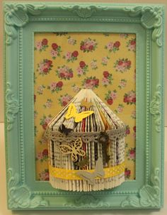Unusual handmade gift personalised bird cage book fold art framed