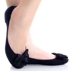 Black-Suede Casual Bow Round Toe Slip On Women Ballet Flats Shoes