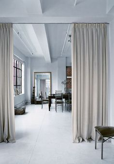 Amsale Aberra's Stylish New York Loft – – - Raumteiler Cheap Room Dividers, Fabric Room Dividers, Wooden Room Dividers, Portable Room Dividers, Bamboo Room Divider, Living Room Divider, Hanging Room Dividers, Living Room Decor, Space Dividers