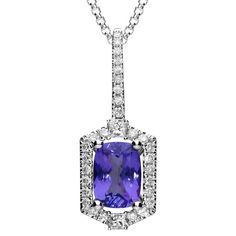White Gold Tanzanite Diamond Cluster Necklace, In Stock. Tanzanite Necklace, Tanzanite Stone, Cluster Necklace, Latest Jewellery, Princess Cut Diamonds, Jewelry Packaging, Gemstone Colors, White Gold, Gemstones
