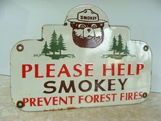 """Smokey the Bear Porcelain Sign (Antique 1956 """"Please Help Smokey Prevent Forest Fires"""" Sign, Vintage Forestry Safety Signs)"""