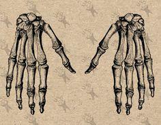Vintage Anatomical Image Hand Bones Skeleton Instant Download Digital printable graphic for kraft  burlap stickers t-shirt HQ 300dpi by UnoPrint on Etsy