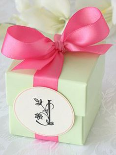 Light Green 2-piece favor box, Hot Pink satin ribbon, PETITE round ivory floral monogram gift tag with a light pink color border