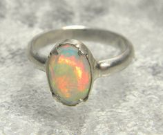 Sterling Silver Opal Ring, Silver Ring, Opal Stone, Rough Opal, Birthstone, Gem Stone, faceted opal, faceted stone