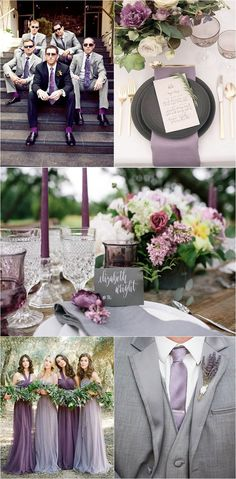 Gray wedding colors - Timeless Grey Wedding Color Palette Ideas to Inspire Gray Wedding Colors, Wedding Color Schemes, Floral Wedding, Green Wedding, Grey Wedding Theme, Lavender Grey Wedding, Purple Black Wedding, Lavender Weddings, Popular Wedding Colors