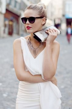Red Lips, Statement Necklace, White Dress
