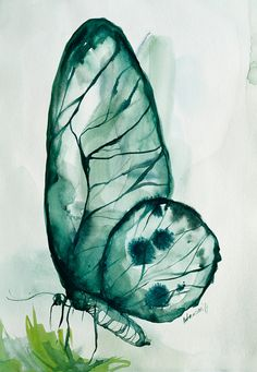 Emerald Original Watercolor Painting Wall от AlisaAdamsoneArt