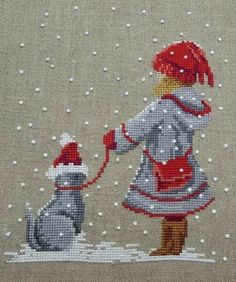 Premiers Flocons (First Flakes) by Martine Rigeade (Cross Stitch) www. Xmas Cross Stitch, Cross Stitch Needles, Modern Cross Stitch, Cross Stitch Charts, Counted Cross Stitch Patterns, Cross Stitch Designs, Cross Stitching, Cross Stitch Embroidery, Theme Noel