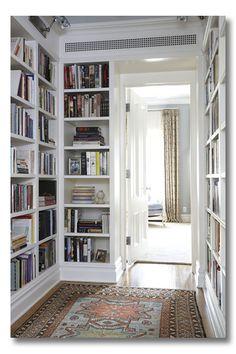 bookshelf hallway