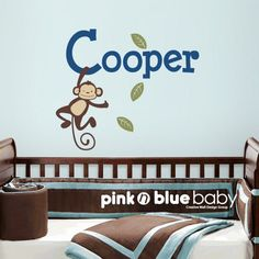 Hanging Monkey Custom Baby Name- Kids Wall Sticker Baby Name Decal | pinknblueBaby - Children's on ArtFire