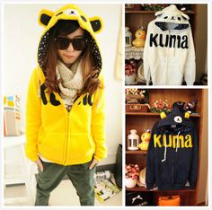 Winter 2013 100% Cotton Cute Cartoon Anime Rilakkuma Bear Hoodie set with Ears Yellow Grey Blue Women Coats Jacket Sweatshirt from FE CLOTH...