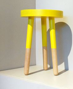 painted stool with different color for bottom legs