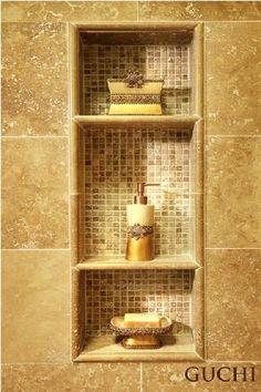 Mosaic tile in shower nook
