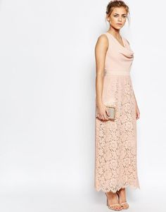 Oasis | Oasis Premium Lace Cowl Neck Maxi at ASOS