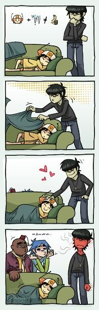 Awww! The demon has a heart!  This is Gorillaz btw, look em up!