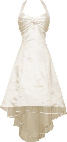 Satin Halter Dress Prom Bridesmaid Holiday Junior Plus Size, 3X, Ivory
