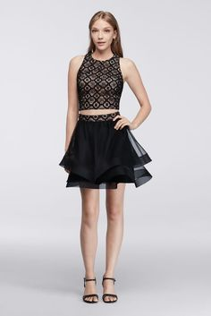 Lace Homecoming Crop Top with Tiered Skirt Style 6693NR6C