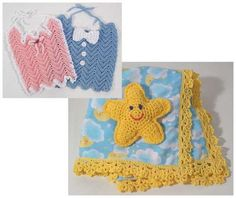 Watch Maggie review this adorable Baby Gifts Pattern! Original Design by: Maggie Weldon Skill Level: Easy Size: Receiving Blanket: 32″ square; Star Toy: 6″ from point to point; Rippled Bibs: Girls 7″