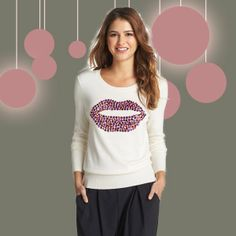 9 (Not) Ugly Christmas Sweaters | Halogen lips sweater, $68