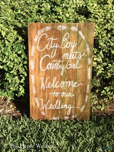 Handmade Artsy Wedding Signage: City boy meets country girl