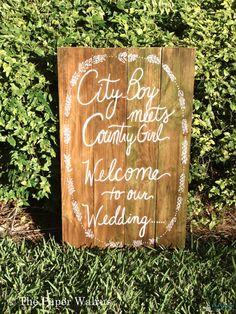 Handmade Artsy Wedding Signage: City boy meets country girl