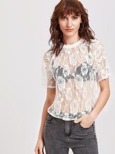 Shop White Sheer Floral Lace Top online. SheIn offers White Sheer Floral Lace Top & more to fit your fashionable needs.
