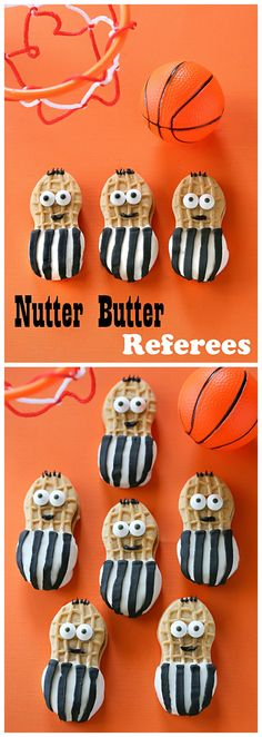Make the right call with this quick treat for March Madness. Nutter Butter Referees are cookies dipped in white chocolate and dressed up as referees!