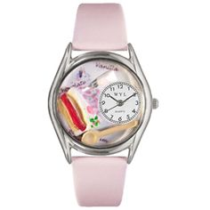 Pastries Pink Leather And Silvertone Watch - http://www.artistic-watches.com/2013/01/19/pastries-pink-leather-and-silvertone-watch/