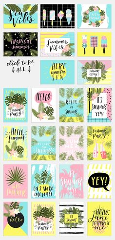 Tropical summer kit - Illustrations - 2 Introducing our new Tropical Summer kit.You will get zip. file with 24 tropical cards and 20 tags templates, textured hand drawn phrases with cute summer elements, 6 patterns!