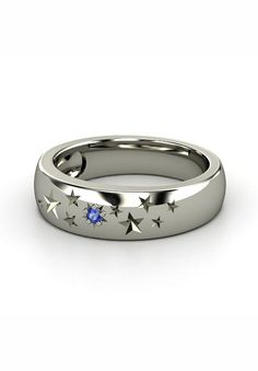 I want this Ring for Christmas but with Purple in it!!!!!! Sterling Silver Ring with Sapphire   Supernova Band   Gemvara