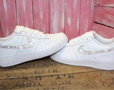 Swarovski Nike Air Force 1 Women's Shoes Blinged Out With Swarovski Crystals Bling Nike Shoes Bling Nike Shoes, White Nike Shoes, Adidas Shoes, Women's Shoes, Shoe Boots, Air Force 1, Nike Air Force, Nike Air Max, Nike Models