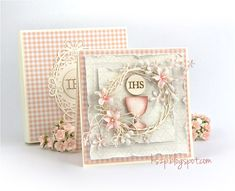 Klaudia Szpunar (Kszp) for Rapakivi. Holy Comunion chipboards from Rapakivi Pretty Cards, Cute Cards, First Communion Cards, Confirmation Cards, Card Making Designs, Christian Cards, Quilling Cards, Shabby Chic Cards, Paper Flowers Diy